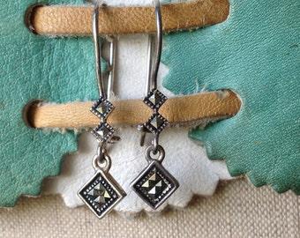 Vintage Sterling silver Marcasite earrings, Retro earrings, Sparkle earrings