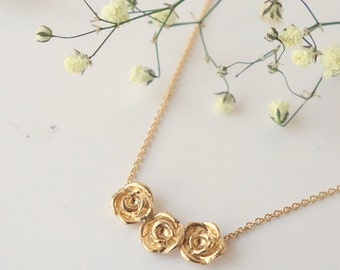 Rose Bud Necklace - 14k Yellow Gold