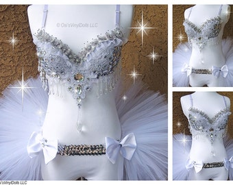 Diamond Ice Princess Floral Rave Outfit - Rave Bra and Half TuTu Bustle EDM Outfit