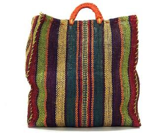 90s Woven Straw Tote Bag / Vintage 1990s HUGE Sisal Beach Bag / Big Bohemian Raffia Market Tote