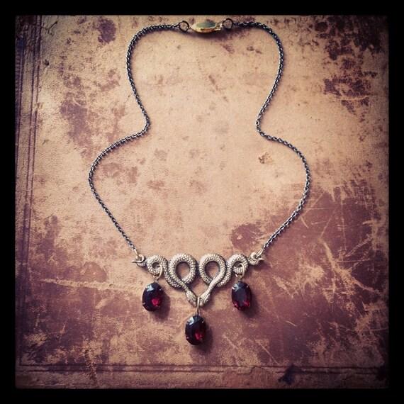 Ssssserpent Necklace with vintage garnet glass drops