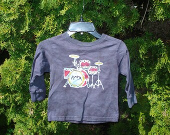 Boy or Girl Batik Drumset Rock and Roll T-shirt