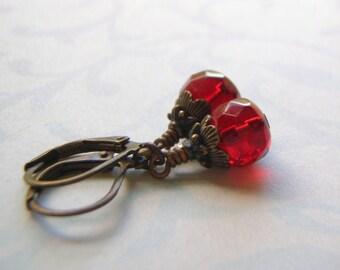Red Earrings Antique Brass Lever Back Ear Wire 9 x 6 Light Garnet Glass Rondelle Dangle