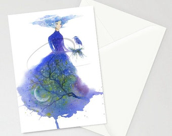 Greeting Cards - TWILIGHT - Night, moon, Stars, Heron, Evening, Sky, Blue, Watercolor Art Painting