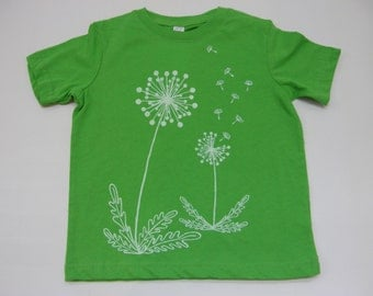 Dandelions Toddler Tee Shirt- Apple Green Hand Printed Soft Cotton, White ink-- Sizes  2T, 3T, 4T