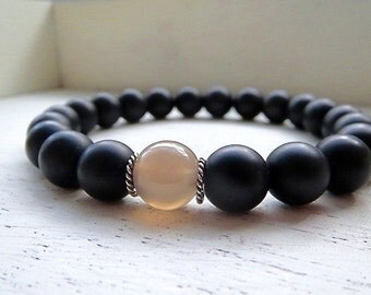 Matte Black Agate, Smokey Grey Agate Mens Beaded Bracelet