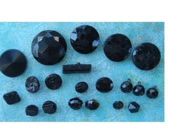 Four Vintage Large Faceted Black Glass Buttons