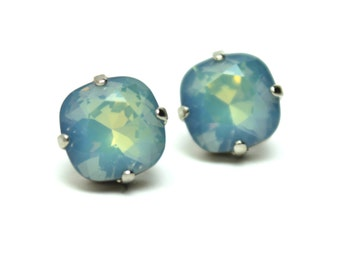Opal Starshine RARE Crystal Stud Earrings Classic Sparkling Pale Pastel Baby Sky Blue Swarovski 12mm 10mm Sterling Post Copper Aqua Gray
