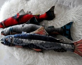 Decorative Fish Pillow Pendleton Wool Salmon Blue