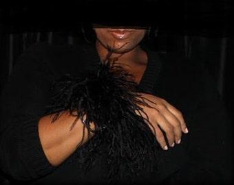 Black Ostrich feather cuffs
