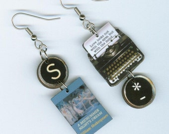 Book cover typewriter Earrings - A Midsummer Night's Dream Shakespeare - English Literary gift - book club librarian teachers