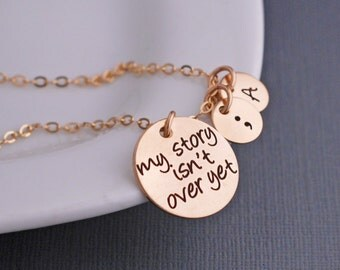 Gold My Story Isn't Over Yet Necklace, Semicolon Jewelry, Personalized Inspirational Jewelry