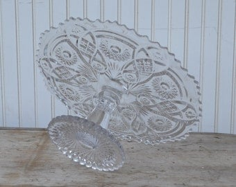 Large Clear Glass Cake Made by Imperial Glass - Royal Hill Vintage