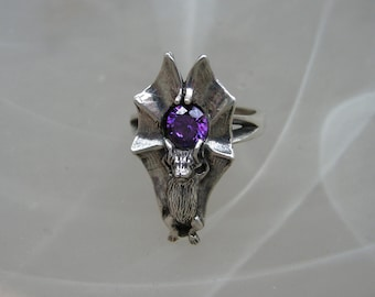 Bat Ring Sterling Silver With Amethyst