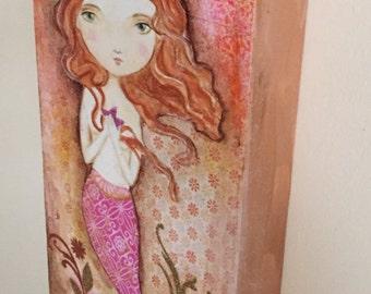 Mermaid in Pink original painting