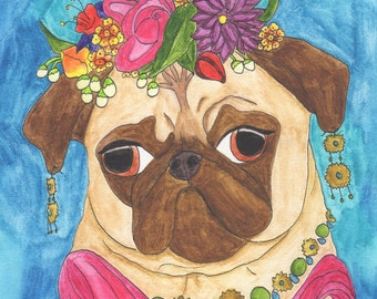 Frida Kahlo Art, Pug Art, Funny Animal Art, Dog Art, Original Watercolor Painting, Dog Artwork, Watercolor Dog, Quirky Art,Colorful Wall Art