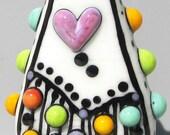 Mod Spot Hearty Teardrop--Handmade Lampwork Glass Bead