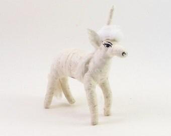 Vintage Inspired Spun Cotton White Unicorn Ornament/Figure