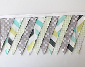 Teal Lime Gray Herringbone, Shower Bunting party decoration. Fabric Banner. Photo prop 12 Pennant Birthday flags dessert table. tan Chevron