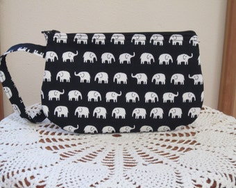 Clutch Wristlet Zipper Gadget Pouch Tiny White Elephants on Parade in Black