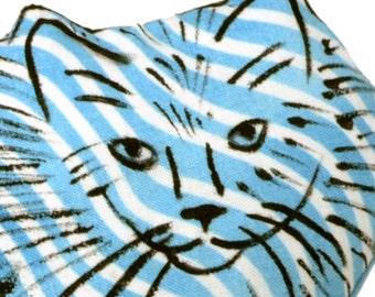 decorative pillow, cat pillow, kitty pillow, animal pillow, medium fluffy cat shaped blue striped fabric