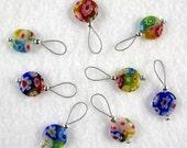Millefiori Stitch Markers - Multi-Colored - US 10 - Item No. 974
