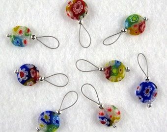Millefiori Stitch Markers - Multi-Colored - US 10 - Item No. 974