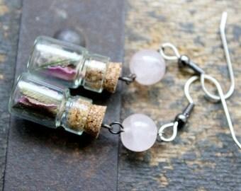 Loved Earrings - Mini Bottle Spell Jar Crystals Dried Flowers