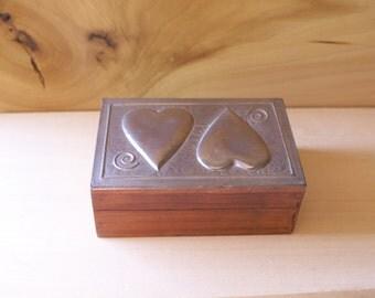 Sasha Bowles Wood Box with Pewter Heart Design