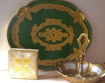 Vintage Florentine Tray, Box & Bowl, Instant Collection Set
