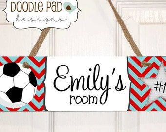 Personalized Soccer Door Sign, Soccer Gift, Soccer Wall Art,