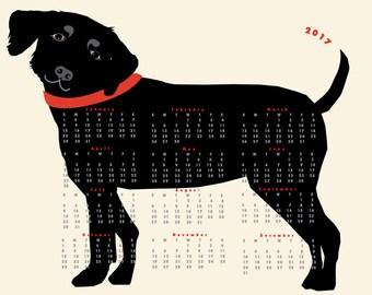 2017  Black Lab Dog Calendar wall calendar poster 13 x 19 inches