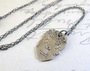 Sterling Silver Sugar Skull Necklace for Day of the Dead