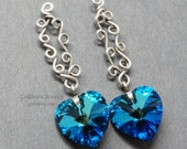 Sparkling Bermuda Blue Crystal Heart and Sterling Silver Scroll Earrings