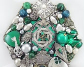 RESERVED FOR Iuli - Half Off Sale Hand Mirror - Celtic Luck - Repurposed Jewelry - M001014