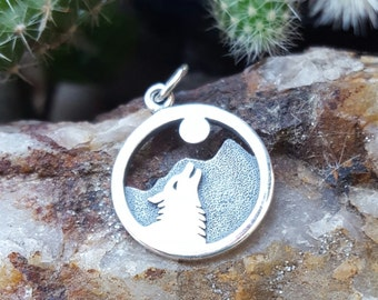 Howling Wolf Charm - Sterling Silver Wolf Howling at the Moon Necklace