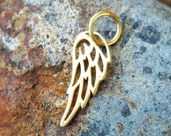 Tiny Gold Angel Wing Charm - Vermeil - Small Guardian Angel Necklace