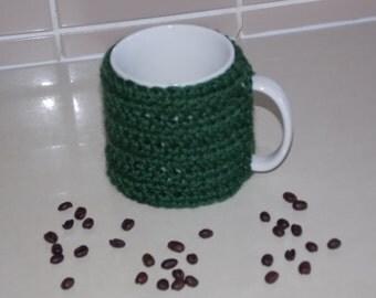 crocheted coffee cuff mug cup cozy cover dark forest green