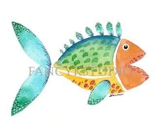 755 FISH 5x7 ORIGINAL Matted Watercolor Painting