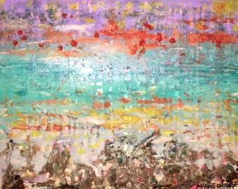 Choctawhatchee Textured Abstract Surrealist Landscape Beach Art 16x20 painting by Maxine Orange Destin FL artist