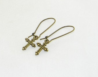 Dainty bronze cross charm dangle earrings, Crucifix, Easter, Baptism, Confirmation, Religious, Brides, Jewelry