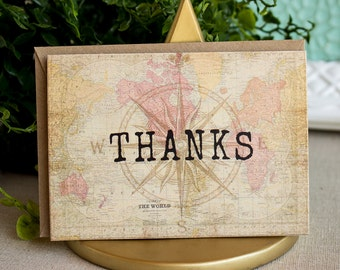 Vintage World Map  Compass Travel Thank You Notes  set of twenty