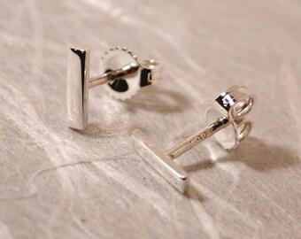 7mm x 2mm Modern Bar Earrings Geometric Stud Earrings Bar Simple Basic Studs Sterling Silver by SARANTOS