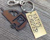 HAPPY CAMPER Key Ring ~ Teardrop Travel Trailer Keychain ~ Key Chain