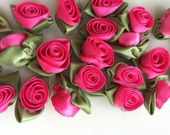 "Pink Ribbon Roses Dozen 2 (24) Handmade 12mm (1/2"")  in Raspberry Pink"