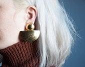 the ark gold sterling silver oversized sculptural modernist earrings / signed 1988 earrings / 851a