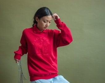 giorgio beverly hills sweatshirt / red collared sweatshirt / colorblock top / s / m / 1746t / B22