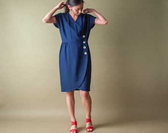60s navy blue mod  wrap dress / wool crepe wrap dress / s / m / 033d