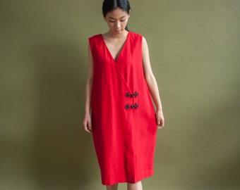 red wool crepe wrap sack dress / toggle mini dress / m / l / 1909d