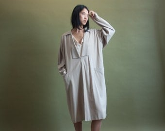 GIANFRANCO FERRE beige wool sack dress / oversized layered deep v dress / beige midi dress / 1828d
